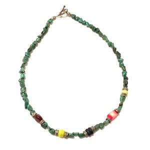 Turquoise Stone Necklace with Colored Beads